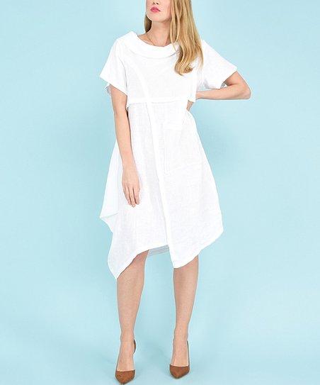 d4379f9855a love this product White Pocket Charlotte Linen-Blend Handkerchief Dress -  Women