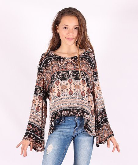 55d6b1656cf867 love this product Brown Scarf-Print Swing Top - Girls