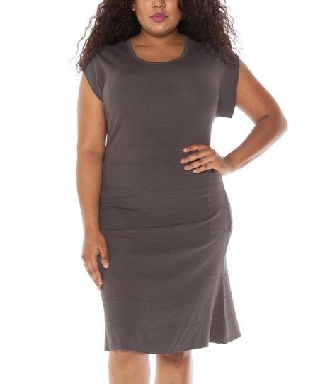 1dc16ecfc90 love this product Dark Gray Cap-Sleeve Sweater Dress - Women   Plus