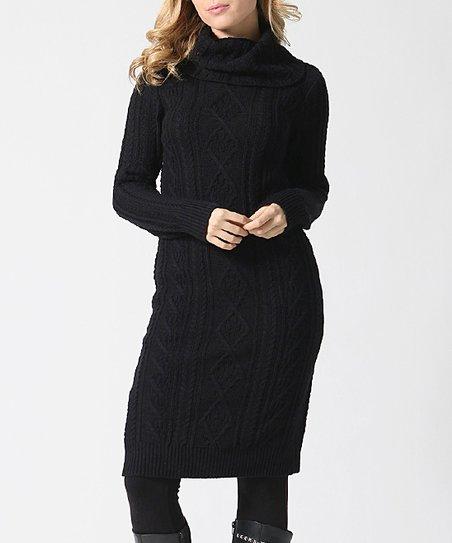 f57ce8dbd50f 42POPS Black Cable-Knit Cowl Neck Sweater Dress - Women | Zulily
