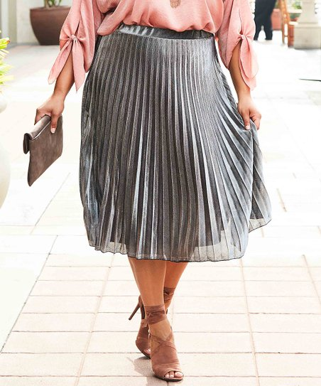 253f049d83c6 love this product Silver Metallic Pleated Skirt - Plus