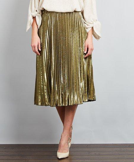 b6a513d8da love this product Gold Metallic Pleated Skirt - Plus