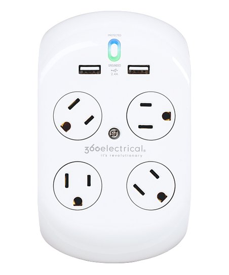 360 Electrical 2.4-Amp Dual USB Four-Outlet Rotating Surge Tap  51784c318