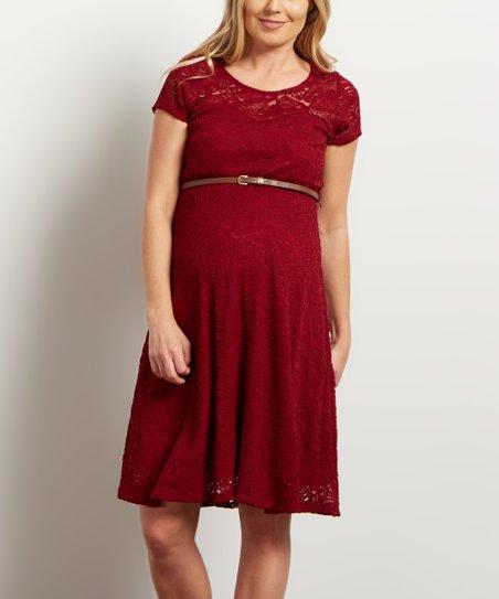 5cdca51dd13 PinkBlush Maternity PinkBlush Burgundy Lace Belted Maternity Dress ...