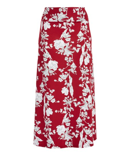 c21214facb love this product Red & White Floral Maxi Skirt