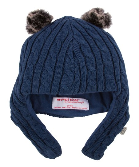 love this product Navy Double Pom Cable-Knit Magnetic-Closure Hat - Infant 8fd7102a1
