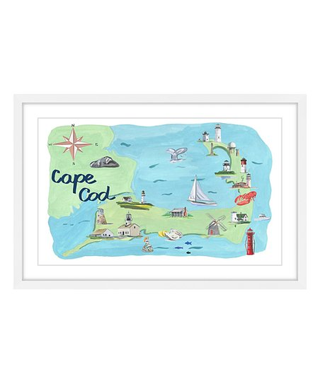 picture about Printable Map of Cape Cod named Marmont Hill Cape Cod Map Framed Print