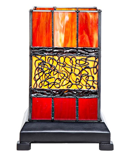 River Of Goods Red Craftsman Style Stained Glass Hurricane Uplight