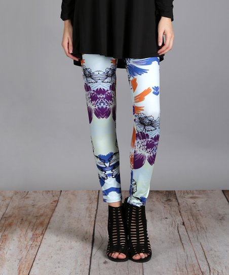 3275d77bf9861 Lily Blue & Purple Lotus Leggings - Plus Too | Zulily