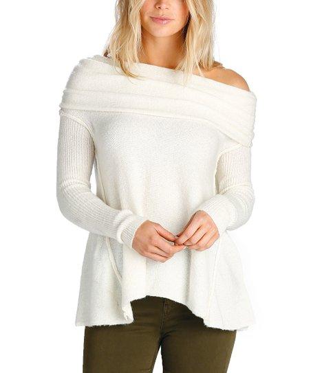 Elan Cream Off Shoulder Cowl Neck Sweater Women Zulily