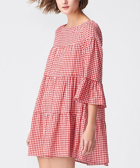 2619bb6f91a0 love this product Red & White Gingham Bell-Sleeve Swing Tunic