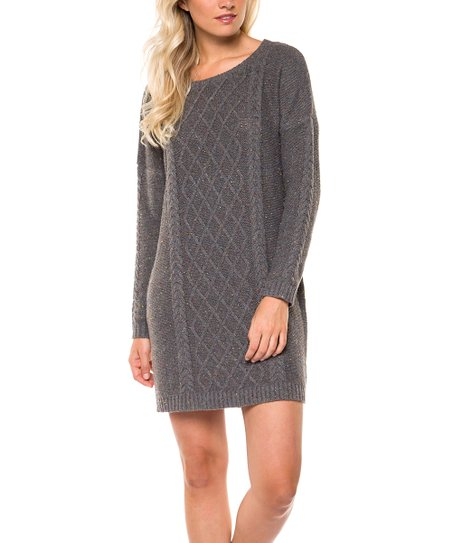1092bc429c7 Devoted Gray Cable Knit Sweater Dress - Women