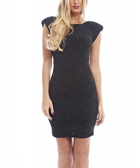bfd4616c AX Paris Black Metallic Cap-Sleeve Dress - Women | Zulily