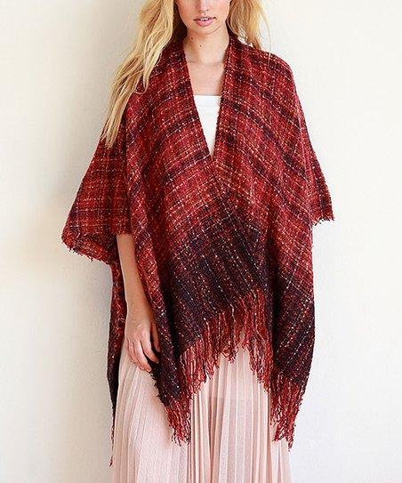 Red Earth Tone Tweed Woven Fringe Ruana