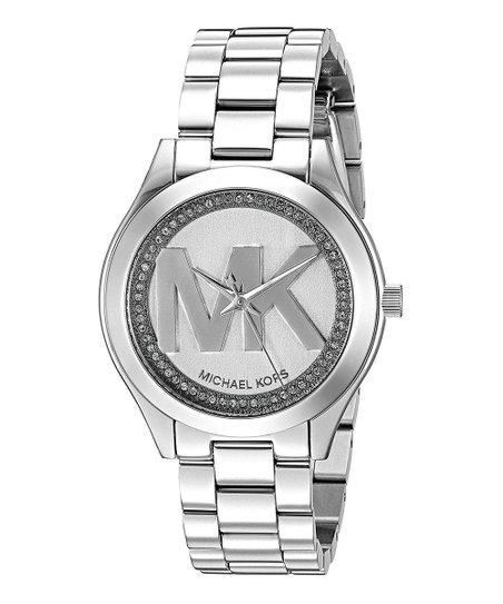 Silvertone Mini Slim Runway Bracelet Watch