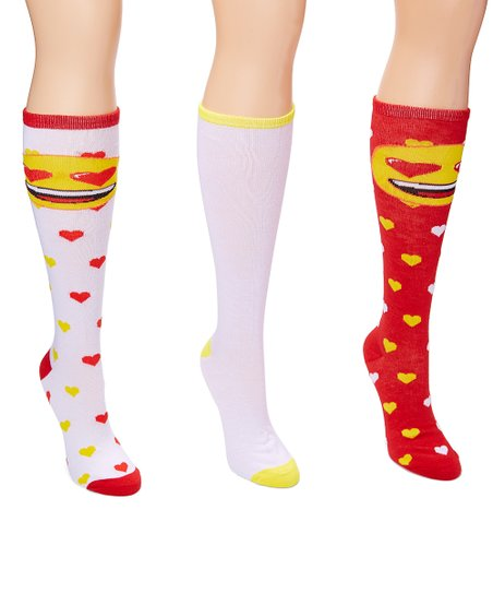 f365c60a3a9 love this product Red   White Emoji Three-Pair Knee-High Socks Set - Women
