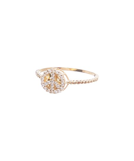 JTS Cubic Zirconia & 10k Gold Round-Cut Ring
