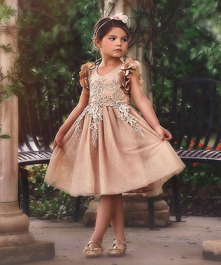 Trish Scully Child Gold Bianca Dress , Toddler \u0026 Girls
