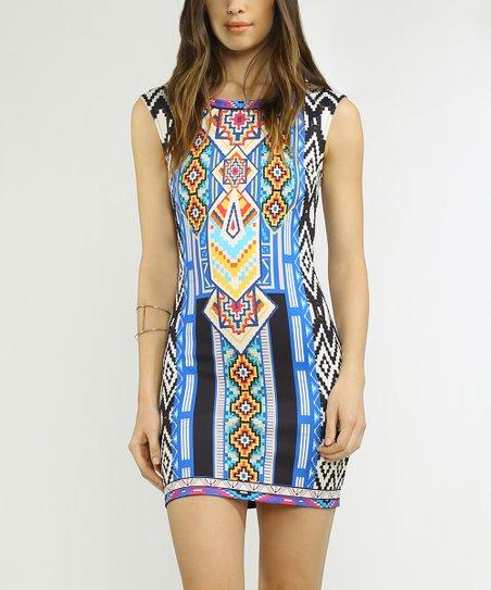 9d03680e2d9 Flying Tomato Ivory   Blue Geo-Print Bodycon Dress
