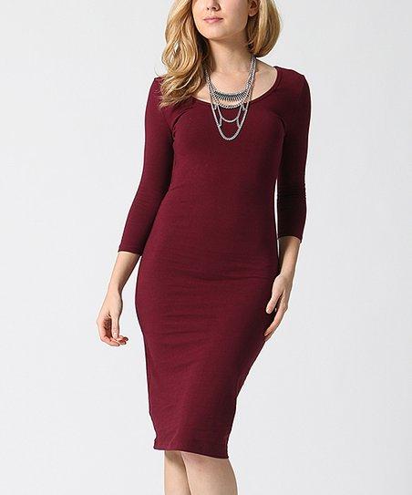 f1d5fae3 love this product Dark Burgundy Three-Quarter Sleeve Sheath Dress - Women