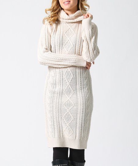 fa49ef86da3 love this product Oatmeal Cable-Knit Cowl Neck Sweater Dress - Women