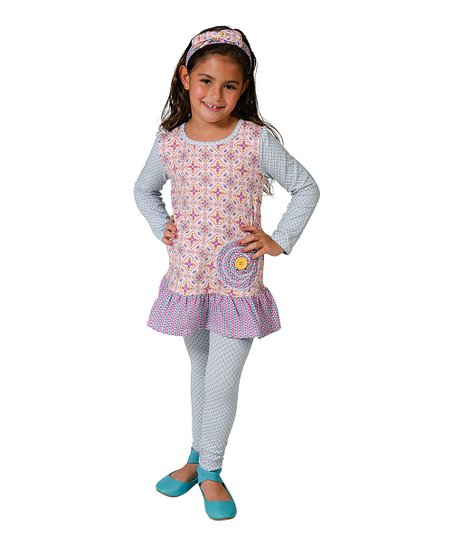 5 Girls 2T Jelly the Pug Purple Abstract Shelby Dress /& Mermaid Leggings