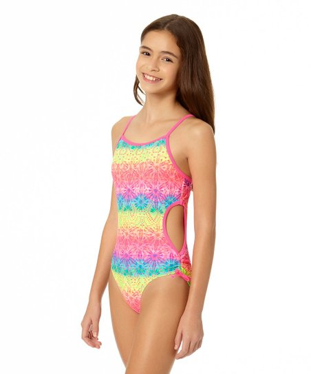 3c53002f80 love this product Pink   Yellow Sonic Crochet-Accent One-Piece Swimsuit -  Girls