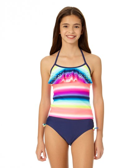 e193fc67ccd71 Angel Beach Rainbow Storm Ruffle-Top Tankini - Girls | Zulily