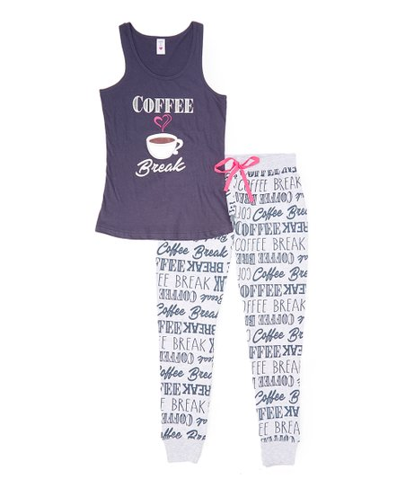 71b80477f1 love this product Shadow Gray  Coffee Break  Tank   Joggers Pajama Set