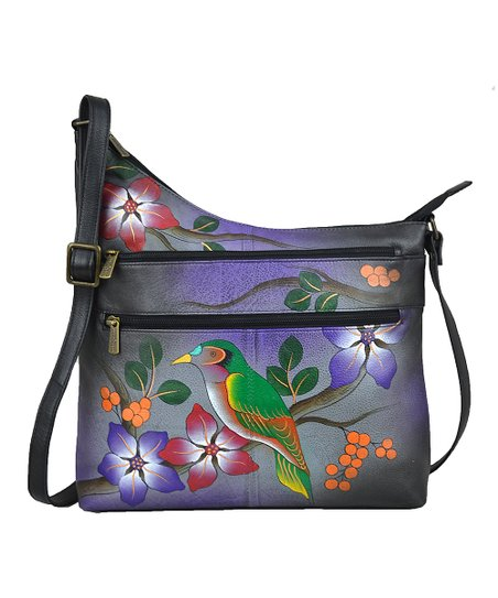 b40f47670e8f Anna by Anuschka Bird on Branch Hand-Painted Leather Crossbody Bag ...
