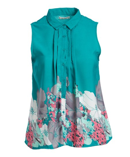 a788dcbbd18bd love this product Turquoise Floral Sleeveless Button-Up Top - Women   Plus