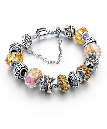 Champagne Austrian Crystal Murano Gl Beaded Bracelet