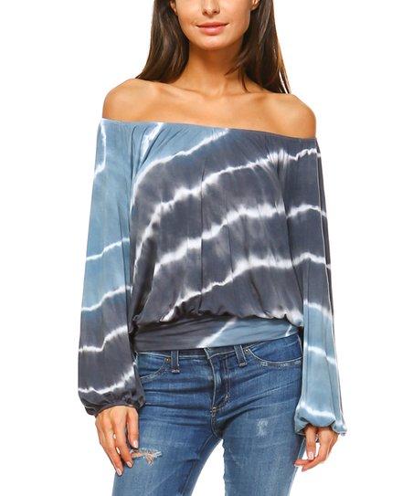 f95f04611b433e love this product Blue   Charcoal Tie-Dye Off-Shoulder Top - Women   Plus