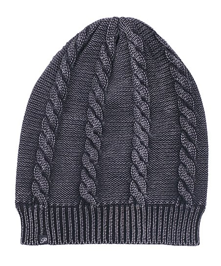 8c128805a6d Plush Black Faded Fleece-Lined Cable-Knit Beanie