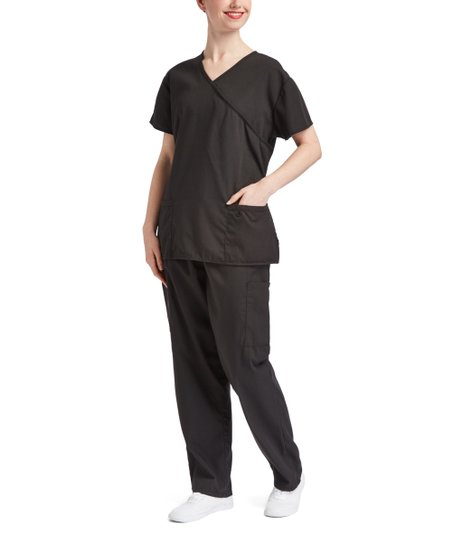 37b82ae8786 Green Town Scrubs Black Scrub Wrap Top & Pants - Women   Zulily