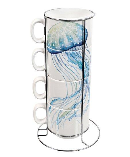 Dei Jellyfish Ceramic Stackable Mug Stand Set Zulily