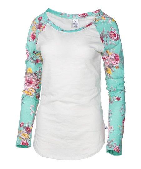 68baa96f love this product White & Mint Floral-Sleeve Raglan Tee - Women