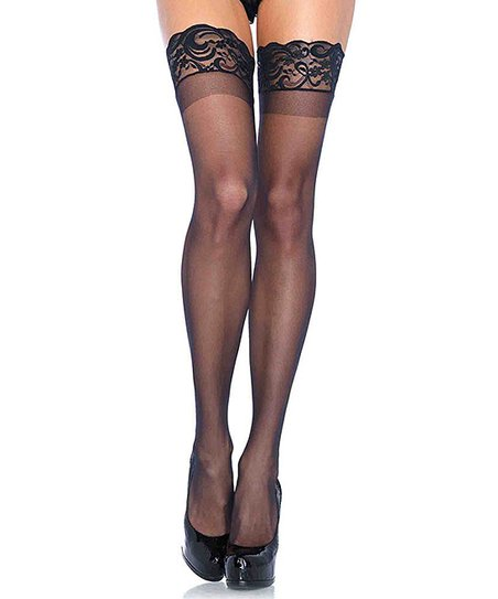 ffcceeb67 love this product Black Sheer Lace-Trim Thigh-High Stockings - Women
