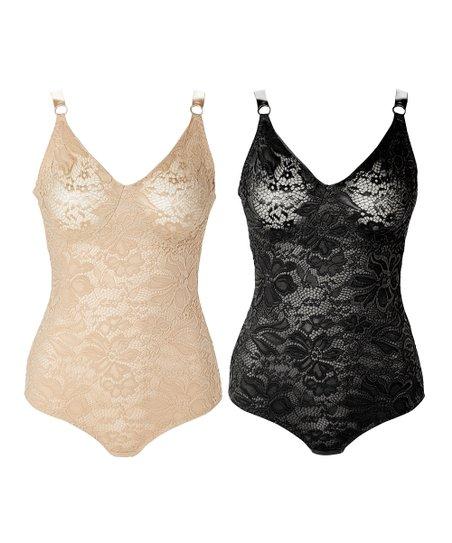 f6be05802b Joan Vass Black   Nude Lace Bodysuit Set - Plus Too