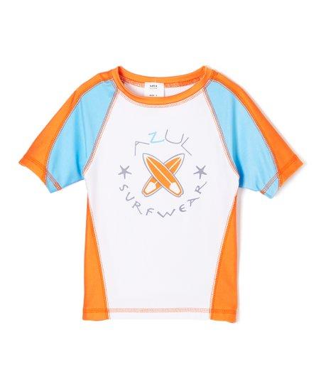 love this product Turquoise   Orange Short-Sleeve Rashguard - Toddler   Boys 527477678