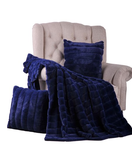 Bnf Home Inc Navy Blue Faux Fur Pillow Throw Set Zulily