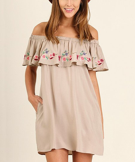 39b74ad2f0a5 love this product Taupe Embroidered Ruffle Off-Shoulder Dress