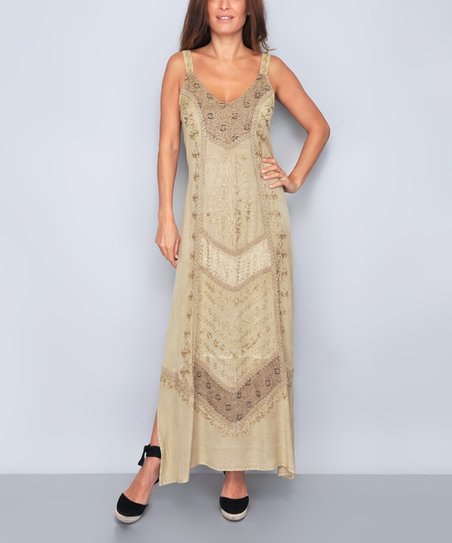 cc9a8985b91 Tarifa Beige Floral Embroidered Side-Slit Maxi Dress - Women