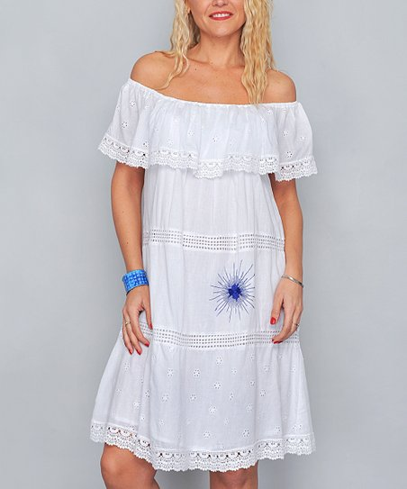 5774feef469f love this product White   Blue Embroidery Off-Shoulder Dress - Women