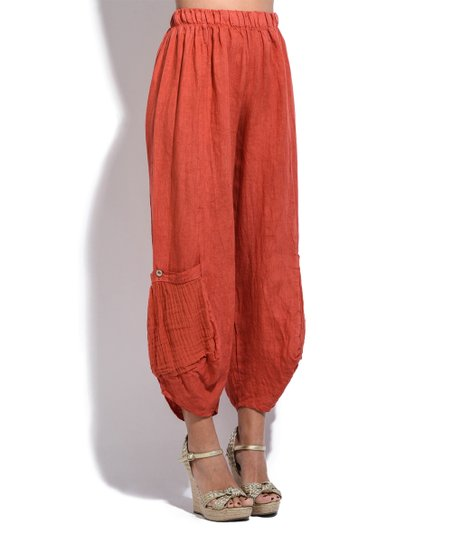 656b13a64013 love this product Coral Pocket Crop Linen Harem Pants - Plus Too