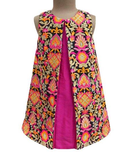 A T U N Fuchsia Floral Peek A Boo Swing Dress Toddler Girls