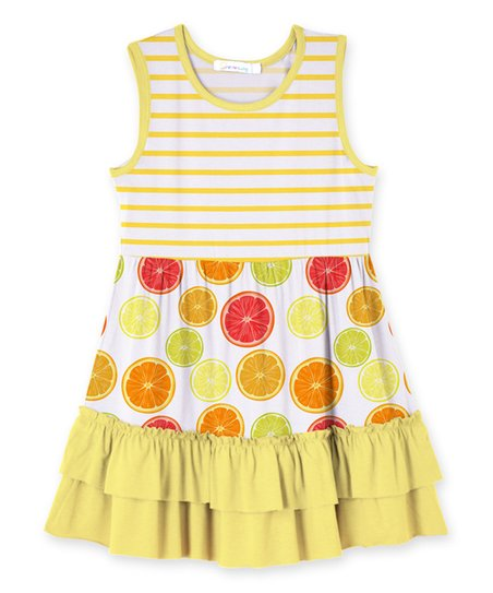 a42660be46ea love this product Yellow Stripe Citrus Ruffle-Hem Dress - Toddler   Girls
