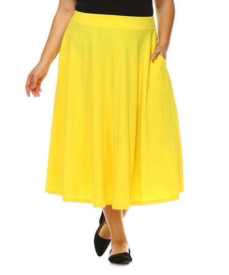 1dd037cdae White Mark Yellow Tasmin Midi Skirt - Plus | Zulily
