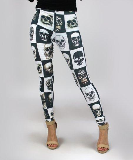 5c2f84673bed10 Casa Lee Black & White Checker Skull Leggings - Women | Zulily