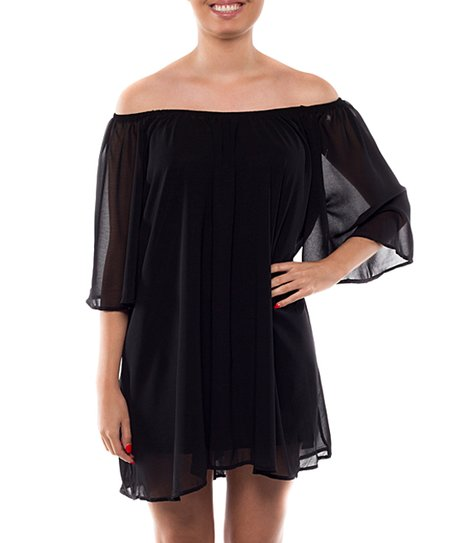 fce74dbfeab2 Coveted Clothing Black Chiffon Off-Shoulder Dress - Women